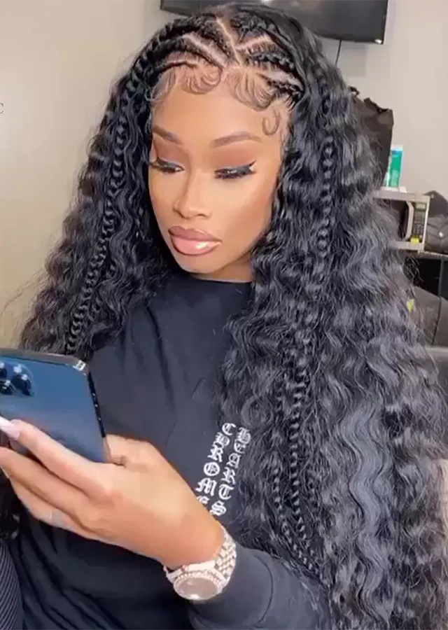 13x6 Lace Front Wig Can Be Braided Wigs Deep Curly Lace Front Wig Wet And Wavy Human Natural Hair