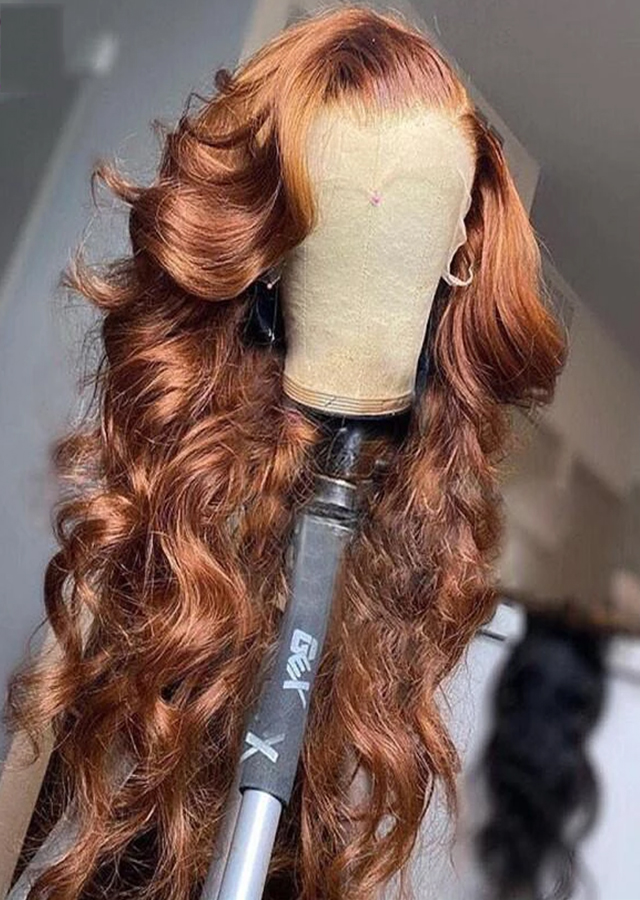 Ginger Brown Color 30 Body Wave Wig Brazilian Human Hair Wigs Pre Plucked Lace Frontal Wig