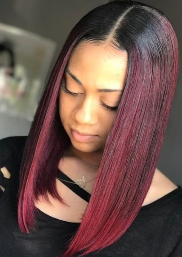Burgundy 1B/99J Straight Human Hair Glueless Full Lace Wigs For Women Pre Plucked