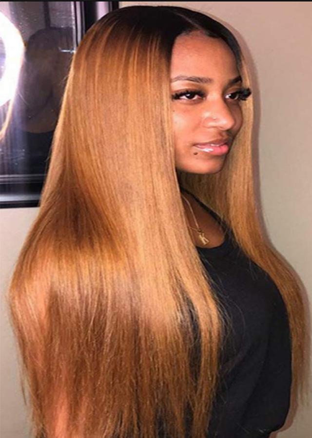 Ombre 1B/33 26inch Virgin Human Hair Wigs Peruvian Colored Wigs