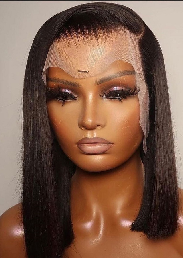 Short Brazilian Straight Bob Wig 13x6 13x4 Lace Frontal Wigs Pre-Pucked