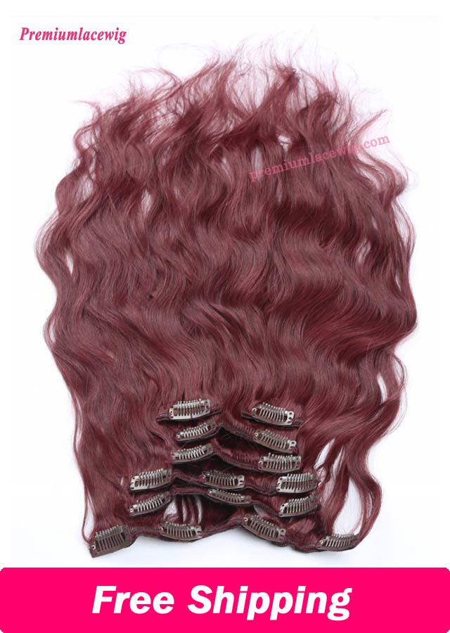 18inch 99J Color 7pcs Body Wave Malaysian Clip in Human Hair Extensions