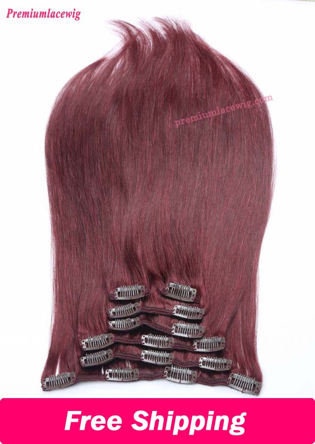 18inch Color99J Straight Brazilian Clip in Human Hair Extensions
