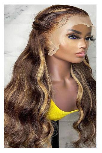 4/27 Highlight Wig Brazilian Body Wave Wig 360 Lace Human Hair Wigs Honey Blonde