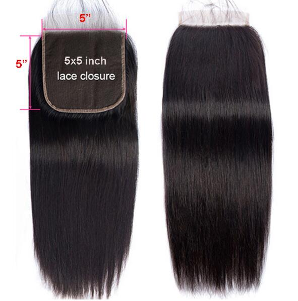 5x5 Lace Closure Straight Brazilian Human Hair Closure