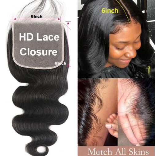 6x6 HD Lace Closure Body Wave Brazilian Human Hair Lace Closure