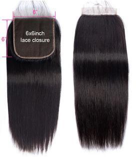 6x6 Lace Closure Brazilian Human Hair Straight Closure 14inch