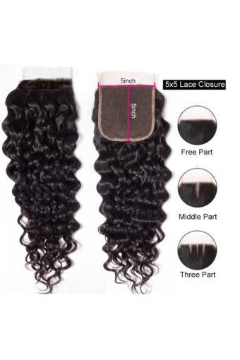 Lace Closure Brazilian Human Hair Water Wave 5X5 Lace Closure