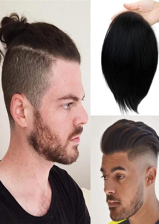 Man toupee French Lace with thin skin around mono inside