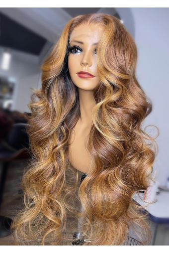 Piano 30/27 Color 360 Lace Frontal Wigs Honey Blonde Body Wave Lace Front Wigs Pre-Plucked Highlight Wigs