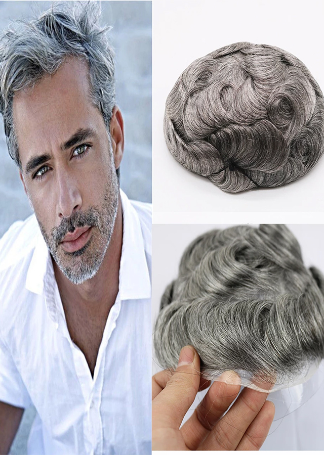 Toupee With Remy Human Hair Thin Skin Toupee Mens Hair Pieces Hair Replacement 1B 60 Color